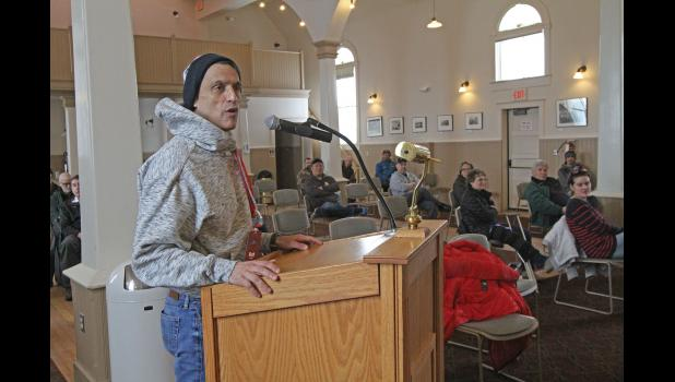 Iditarod CEO Rob Urbach addresses the Nome Common Council in an emergency meeting at Old St. Joe's on March 17, 2020.