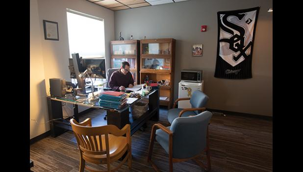 OFFICE SPACE – With the construction done and the move to its new facilities complete, the Nome Superior Court is up and running. Superior Court Judge Romano DiBenedetto is shown here working in his new office.