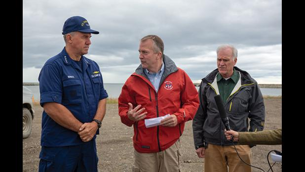 DEEP WATER PORT—The Coast Guard's Admiral Karl Schultz, left, Senator Dan Sullivan, and Secretary of the Navy Richard Spencer spoke about their visit to Nome in search of a deep water port to serve the Arctic