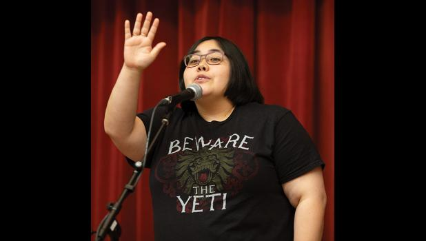 """THIS IS ME— Makayla Marble was one of seven storytellers who shared a story at last Saturday's """"Tales around the Woodstove"""" with the theme """"This is me"""
