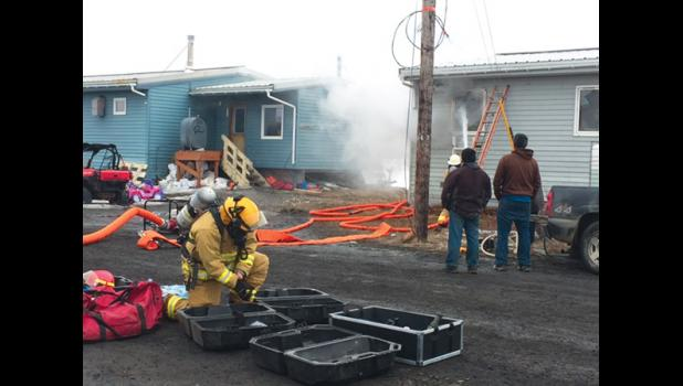 TELLER FIRE— Nome Volunteer Fire Department volunteers helped Teller residents fight a fire in a residential home, on May 4, 2017