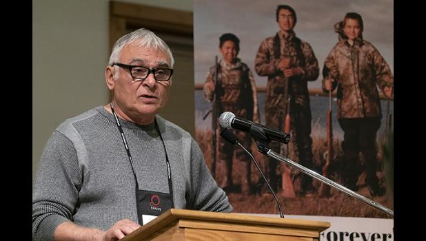 FOOD SECURITY – James Stotts of Utqiagvik, President of ICC Alaska, speaks to the delegates at the Alaskan Inuit Food Sovereignty Summit Sept. 10 in Nome.
