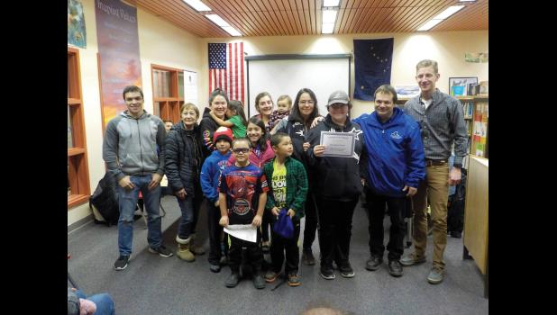 Junior HIgh student Devon Crowe received Student of the Month honors and the whole family clan showed up to celebrate his achievement.