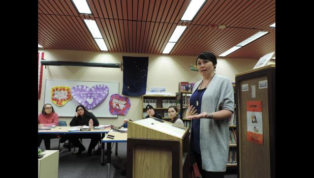 BOOK LIST ADDRESSED— Darlene Trigg addressed the board at the February 21 school board meeting, sharing her personal experiences with the audience and explaining how books became a lifeline for her.