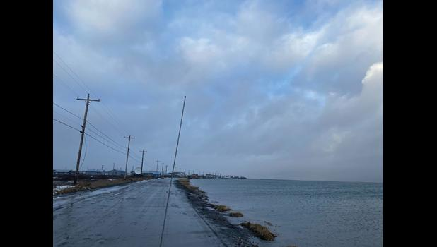 GRANTLEY HARBOR— The town site of Teller is dangerously close to be flooded by rising waters at Grantley Harbor.
