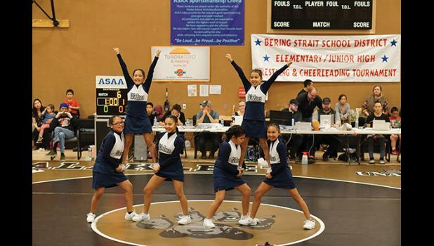 WHITE MOUNTAIN CHEER—White Mountain's cheer squad shows their big smiles. WMO cheerleaders are Alicia Joe, Angelicia Titus, Naomi Oxereok, Caitlyn Lincoln, Lori Nassuk and Lana Ashenfelter.