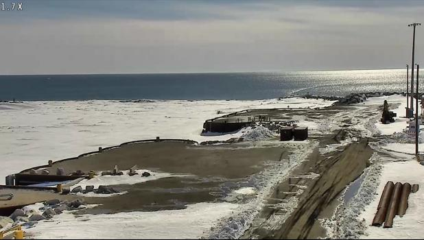 the Port of Nome Causeway juts into open water on April last week.