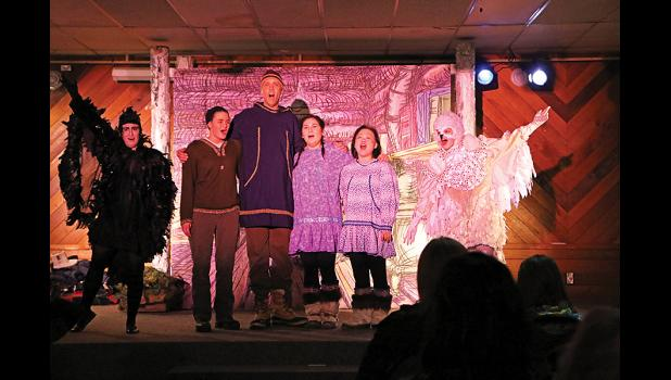 HAPPY ENDING— The cast of Aklaq and Nayak gather for the finale of the UAA Dept. of Music's opera, adapted from the classic fairy tale Hänsel and Gretel.