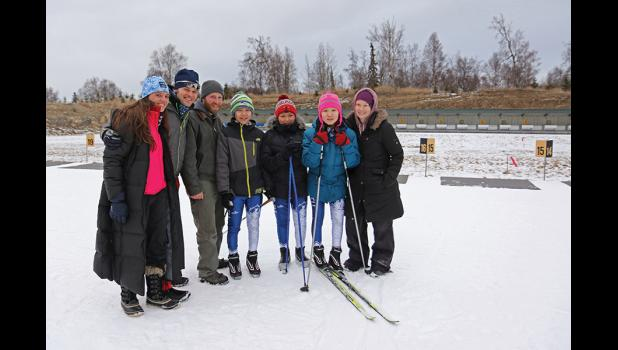 HIGH LEVEL OF INSTRUCTION— Gambell triathlon coach Katie Nagel, right, brought three of her athletes to Anchorage for a biathlon race last weekend.