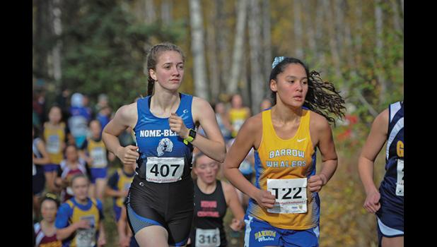 STATE XC CHAMPIONSHIPS— Nome Nanook Ava Earthman finished last Saturday's State XC Championships in 45th place with a time of 24:20.2, at Bartlett High School in Anchorage.