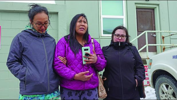 Brenda Evak gave a statement in front of the Nome Courthouse on March 28, 2019.