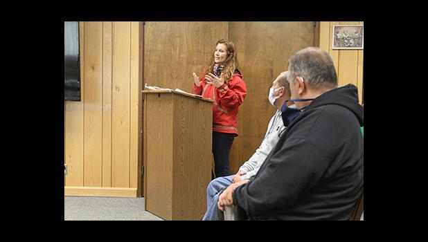 Norton Sound Health Corp. CEO Angie Gorn addresses the Nome Common Council on Monday, July 13.