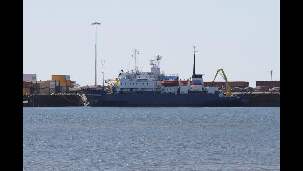 RUSSIAN RESEARCH VESSEL— The Russian research vessel Professor Multanovskiy is docked at the City of Nome harbor on June 1