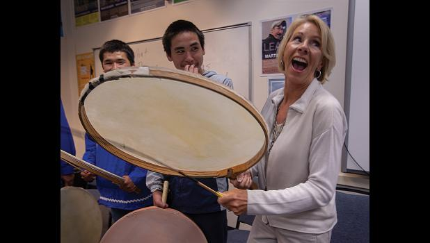PERCUSSION— U.S. Secretary of Education Betsy DeVos enjoyed drumming during her visit to NACTEC in Nome last week. She said she was a percussionist herself.