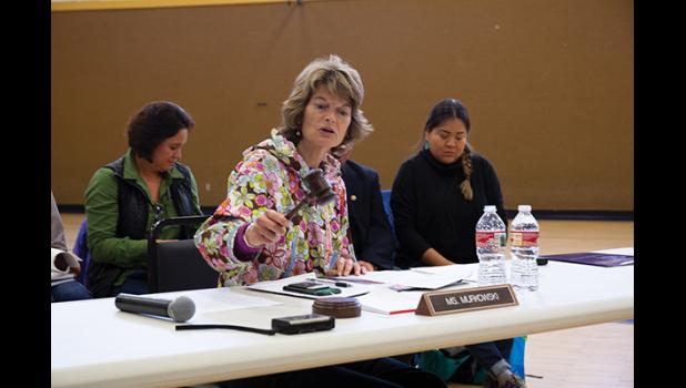 IN SESSION – With a bang of the gavel Senator Lisa Murkowski calls into session a field hearing of the Senate Indian Affairs Committee in Savoonga, August 2018.