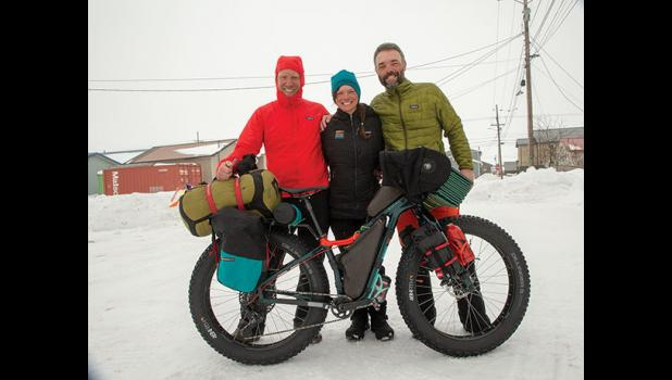ENDURACE CYCLISTS – The champions of the 2020 Iditarod Trail Invitational are, from left, Casey Fagerquist, Jill Martindale and Petr Ineman. The three finished together a grueling ITI race.
