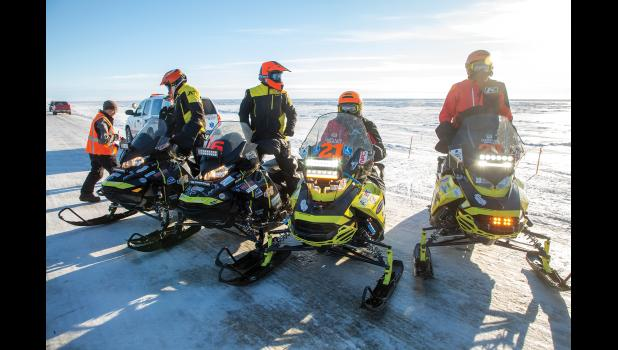 FIRST ARRIVALS – The first team to arrive in Nome was Team 21, the Hale brothers, on the right. But they weren't leading the race because they had fewer layover hours than the other teams. The actual leaders of the race, Team 6, arrived shortly after the Hale brothers.