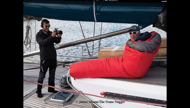 VIDEO TIME – With two film crews aboard the Pangaea there's always a camera around. Mike Horn tries out the Norwegian cold weather sleeping bag which just arrived
