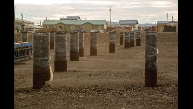 PILINGS – Pilings for the foundation of the Liitfik Wellness Center await construction in Nome.