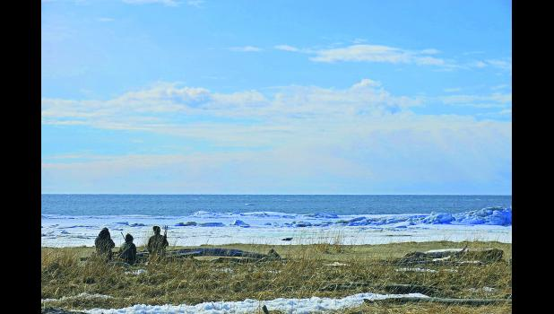 Hunters keeping an eye on a seal hauled out on ice.