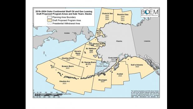PROPOSED LEASE AREAS— The congressonal delegation asked to remove from the 2019-2014 OCS lease sale Hope Basin, Norton Basin, St. Matthew-Hall, Navarin, Aleutian, Bowers Basins, the Aleutian Arc, St. George, Shumagin Kodiak and the Gulf of Alaska.