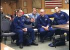 "TALKING IT OVER—District 17 U.S. Coast Guard personnel came to Nome to meet with dredge operators who say this season's enforcement of USCG existing safety regulations will cost lots of money and should not apply to the fleet of ""unique"" mining dredges. Left to right are Commander Justin Jacobs, Lt. Commander Mason Wilcox, Commander Christopher Coutu."